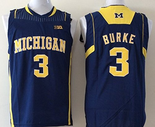 Men's Michigan Wolverines NO.3 BURKE Basketball Jersey NCAA Basketball Jersey for Men