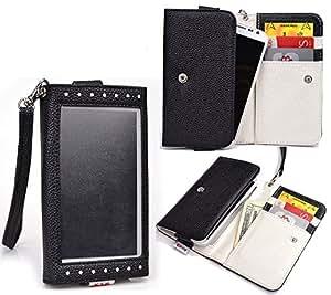 Wallet Case Hybrid w/View Window NuVur &153; |Black,Wristlet,Cards||fits Samsung Galaxy Alpha (SM-G850Y)