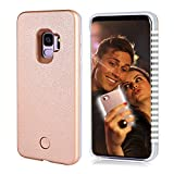 S9 Light up Case, FULLOPTO Selfie Light Case with High Brightness LED Light Illuminated Selfie Light Phone Case Cover Rechargeable Protective Cell Phone Case for Samsung S9(5.8 inch, Rose Gold)