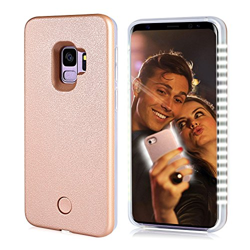 FULLOPTO Galaxy S9 LED Illuminated Selfie Light Phone Case Cover Rechargeable Selfie Light Up Luminous Flashlight Protection Cell Phone Case for Samsung S9(Rose Gold)