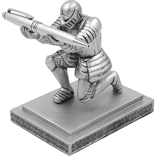 CYXStar Resin Soldier Executive Knight Pen Holder - Personalized Desk Accessory Pen Stand for A Gift - Decorative Pencil Holders Desk Organizer for Men (Silver)