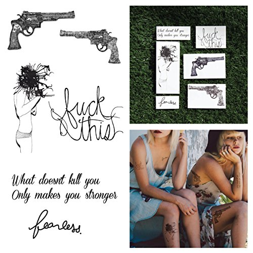 Tattify Guns And Quote Temporary Tattoos - Battle Cry (Complete Set of 12 Tattoos - 2 of each Style) - Individual Styles Available and Fashionable Temporary (Each Tattoo)