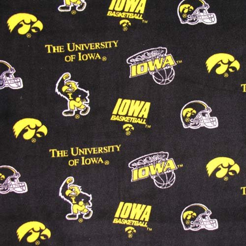 Sykel Enterprises Collegiate Fleece University of Iowa Tossed Yellow/Black Fabric by The Yard