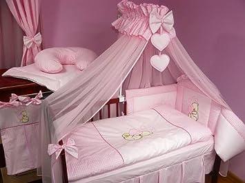 Baby bettset luxus * 8 teilig * riesiger himmel * farbe: herz rosa