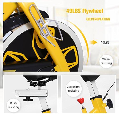 ANCHEER Indoor Cycling Bike, Belt Drive Indoor Exercise Bike with 49LBS Flywheel (Yellow) by ANCHEER (Image #2)