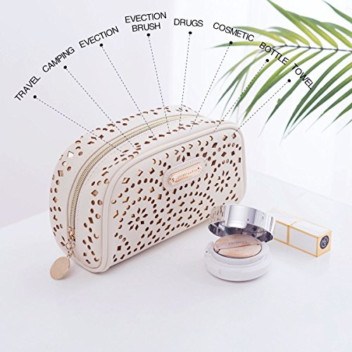 Makeup Bag, Wuhua Gold Pattern Cosmetic Bag with Zipper, Toiletry/Travel Bag for Women, Single Layer Storage Bag for Brushes Jewelry Accessories Collection by Wuhua (Image #3)