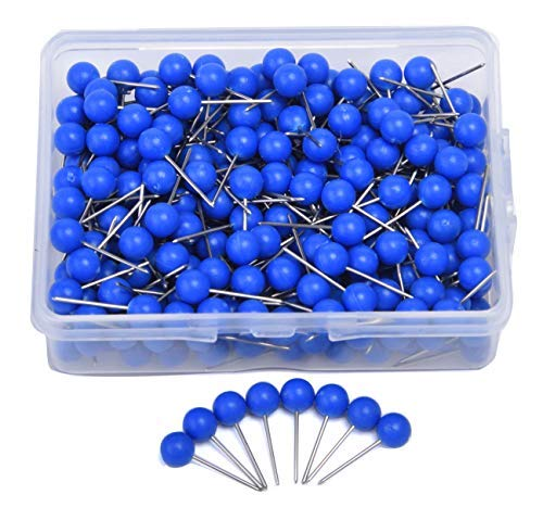 (JoyFamily Map Tacks Push Pins, 1/5 Inch Round Plastic Head with Stainless Steel Point, 300 pieces (Blue))