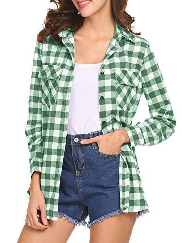 OURS Women's Casual Long Sleeve ST Patrick's Day Shirt Boyfriend Plaids Button Down Flannel Shirt (Green, Large)