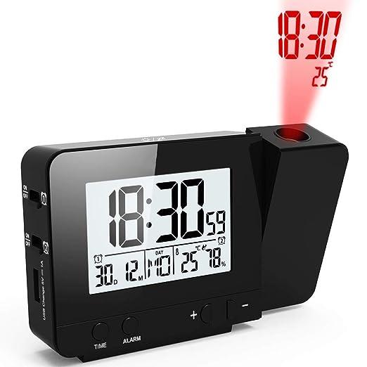 Reloj Despertador de proyección con alarmas Dobles Función de ...