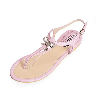 19d5eda9da6415  Summer thong  Sweet rhinestone bow flat women s shoes and thong sandal in  summer