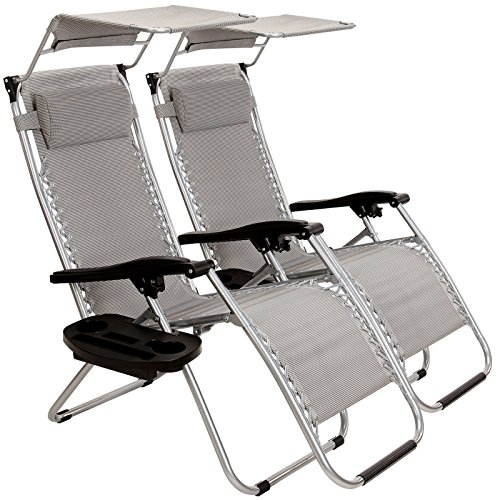 New MTN-G Thicken 2Pcs Zero Gravity Folding Lounge Beach Chairs W/Canopy W/Holder