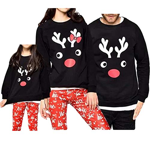 Mens Reindeer Christmas Family Sweatshirt Ugly Christmas Long Sleeve Shirt Tops Christmas Long Sleeve Shirt