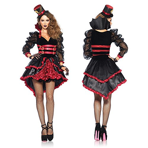 Leg Avenue Women's Victorian Vamp Steampunk Costume, Black/Burgundy, Medium -
