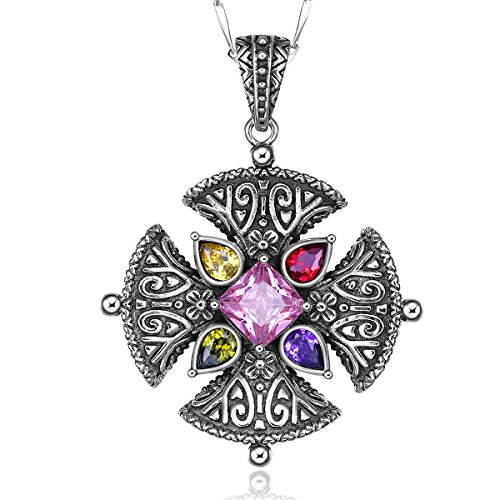(Merthus Vintage 925 Sterling Silver Created Pink Topaz Charm Celtic Cross Pendant Necklace for Women Link Chain Bohemian)
