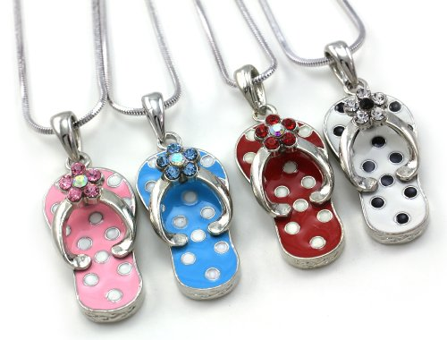 (Flip Flop Beach Sandal Shoe Charm Pendant Necklace White Red Pink Light Blue Fashion Jewelry )