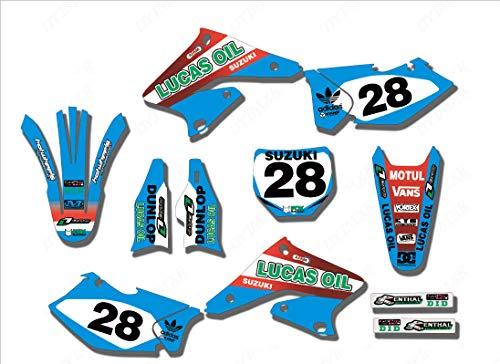 3M Customized Motorcycle Team Bike Graphics Stickers Background Decals for Suzuki RMZ250 RMZ 250 2004 2005 - Decal 250 Rear Fender