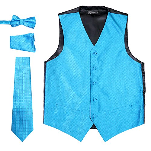 Ferrecci Men's 4 Piece Formal Diamond Pattern Vest Solid Aqua Medium