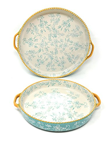 Temp-tations Set of 2 Pizza Deep Dish w/ Handles Tart Pan or Shallow Pie / Quiche 11'' & 9'' (Floral Lace Teal) by Temptations