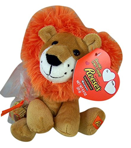 Reese's Peanut Butter Cups Plush Heart Lion Toy with Chocolates, 9 Inch