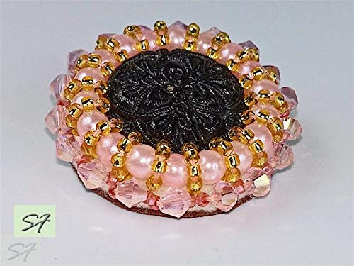 Amazon com: Black and Pink round beadwork brooch embroidered