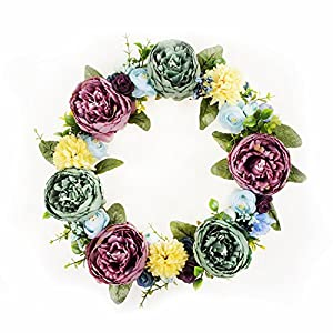 FAVOWREATH 2018 Vitality Series FAVO-W12 Handmade 14 inch Green and Pink Stamen Peony Fall Grapevine Wreath for Summer Front Door/Wall/Fireplace Wedding Floral Hanger Artificial Flowers Home Decor 1