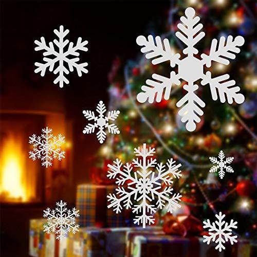 Kizaen 27Pcs Christmas Snowflake Window Clings Decal Wall Stickers - Xmas/Holiday/Winter Wonderland White Decorations Ornaments Party Supplies(1 Sheet)