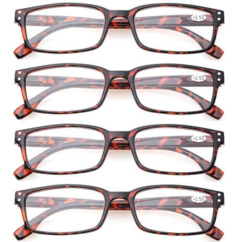 READING GLASSES 4 Pack Spring Hinge Comfort Readers Plastic Includes Sun Readers (4 Pack Tortoise, 3.00)