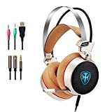 PC Gaming Headset with mic, 7.1 Surround Sound Earphones with 50mm Driver, 3.5mm Wired Over-Ear Headphones with Noise Cancelling, USB LED Light for PS4 Xbox One Laptops (Gold)
