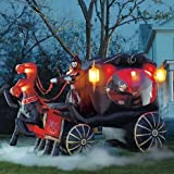 Gemmy Inflatable 12' Huge Halloween Hearse Carriage W/reaper 2 Horses