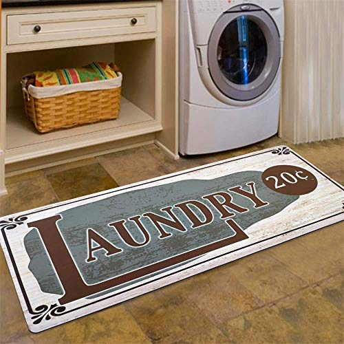 USTIDE Vintage Newly Style Non Skid Floor Mat Laundry Room Mat for Wash Room 2x4 - Mats Vintage Floor Rubber