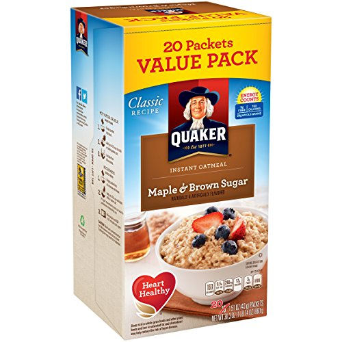 Quaker Maple & Brown Sugar Instant Oatmeal, 20 Count, 1.51 oz Packets
