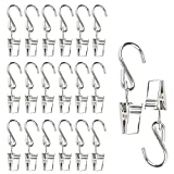 20pcs S Hanging Hooks, Jmkcoz Stainless Steel Hook Hangers Party Light Hanger Hanging Hooks Hanger Clips for Picture String Party Lights Flower Streamers