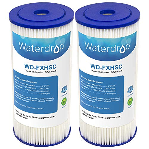 Waterdrop Whole House Sediment Filter, Compatible with GE FXHSC, Culligan R50-BBSA, Pentek R50-BB and DuPont WFHDC3001, American Plumber W50PEHD, GXWH40L, GXWH35F, GNWH38S, GXWH38F (Pack of 2)