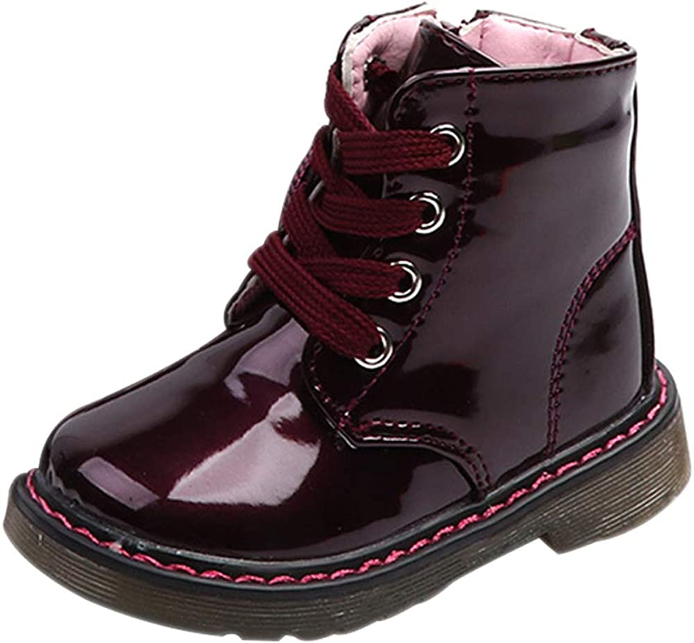 BOZEVON Kids Shoes Winter Unisex Baby Lace-up and Zipper Non-Slip Martin Boots