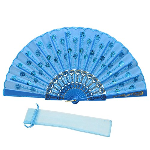 JSSWB Sequins Peacock Pattern Folded Fans Handheld Props Fans (Light Blue) -