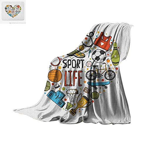 Sports Lightweight Blanket Heart Figure with Sports Icons Swimming Skating Muscle Good Lifestyle Healthy Living Velvet Plush Throw Blanket 80