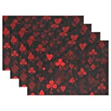 WARMFM Ethel Ernest Red Poker Print Heat-resistant Placemats, Polyester Tablemat Place Mat for Kitchen Dining Room Set of 6