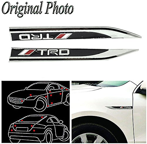 CHAMPLED 2Pcs Great Metal Car Side Fender fit Black TRD Racing sports Skirts Knife Type Sticker Badge (Racing Types Side Skirts)