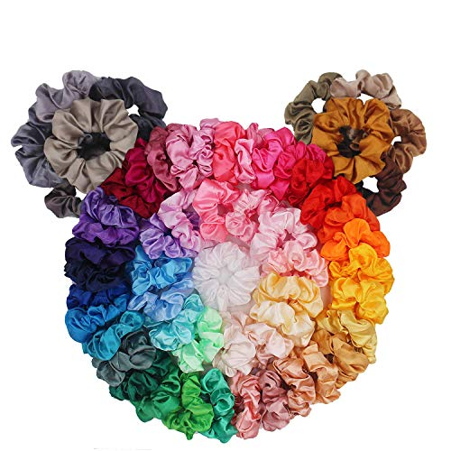BeeVines 60 Pack Hair Scrunchies, Satin Scrunchies Silky Hair Accessories for Girls, Cute VSCO Girl Scrunchies for Curly Hair, Scrunchy Hair Tie Ropes for Teens, Fun Ponytail Makers with Gift Bag