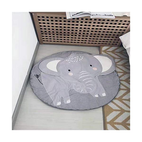 Nursery Elephant Kids Rug Baby Room Childrens Floor Area Rug Mat 100% Cotton Baby Crawling Mat Round Infants School Carpet Decor, Gray