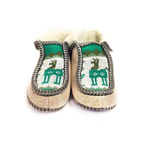 Il Mocassino Artigianale Di Pantofole Argentino (vera Lana Dentro!) Di Salta, Argentina Verde Claro