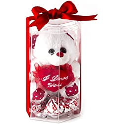Valentines Day Love Teddy Bear, Miniature I Love You Teddy Bear with Heart Milk Chocolate - Oh! Nuts