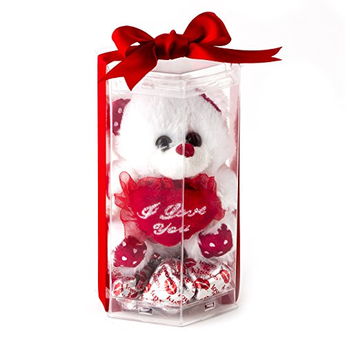 Valentines Day Love Teddy Bear - Miniature I Love You Teddy Bear with Heart Milk Chocolate Gift Basket - Oh! Nuts