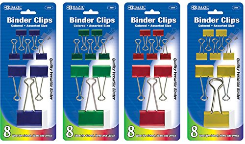 Colored Binder Clips in Assorted Sizes 144 pcs SKU# 1931425MA