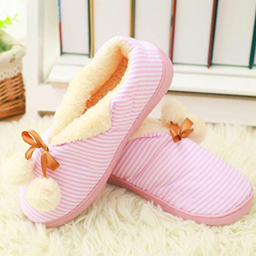 Womens Booties Slipper,Clode® Cotton Indoor Home Floor Soft Flat Winter Slip On Anti-slip Stripe Pregnant Yoga Ankle Boots Mules Slippers Shoes Pink