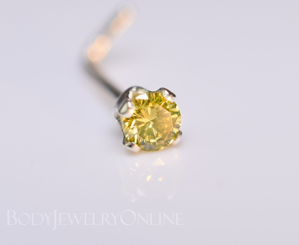Genuine CANARY YELLOW DIAMOND Nose Stud 2mm - Post w/ 14k Solid Yellow or White Gold or Sterling Silver - Helix Tragus Lobe Lip Cartilage by Body Jewelry Online