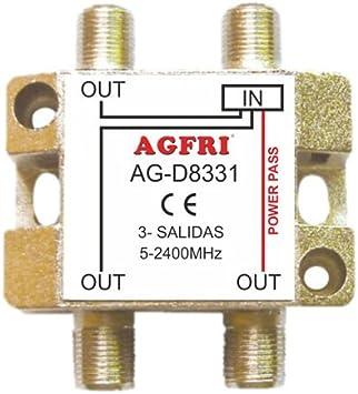 AGFRI AG-D8331 - Derivador de 1 Entrada y 3 Salidas, Color Plateado