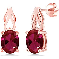 4.00 Ct Oval Red Created Ruby 18K Rose Gold Earrings