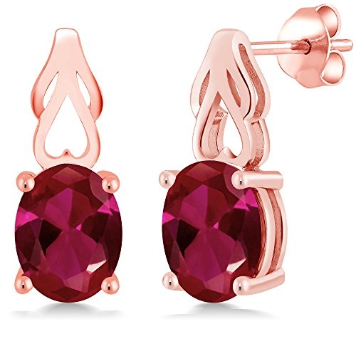 Gem Stone King 4.00 Ct Oval Red Created Ruby 18K Rose Gold Plated Silver Earrings