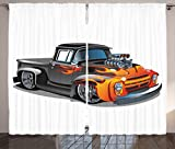 Ambesonne Manly Decor Collection, Cartoon Hot Rod Car Truck Antique Old Model Automobile Transport Nostalgia Image, Living Room Bedroom Curtain 2 Panels Set, 108 X 90 Inches, Orange Grey